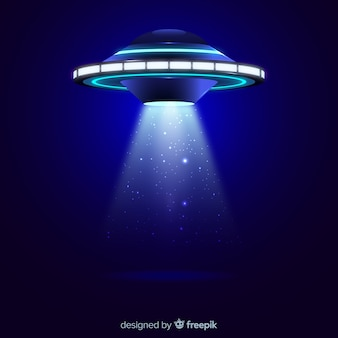 Ufo abduction concept with realistic design