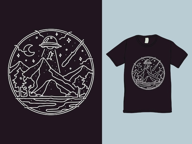 Ufo abduction monoline shirt design