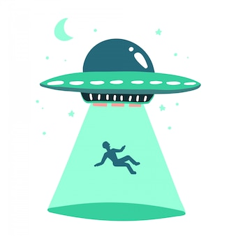 Ufo abducts human. space ship ufo ray of light   illustration in flat style isolated on white background. hand drawn print concept.