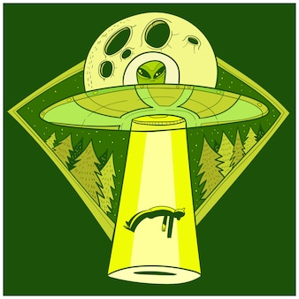 Ufo abducts human. space ship ufo ray of light in the night sky