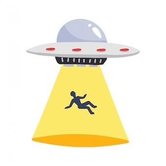 Ufoは人間を拉致します。男のシルエット、イラストと宇宙船ufo光線