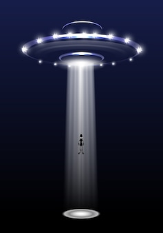 Ufo and alien on night background.