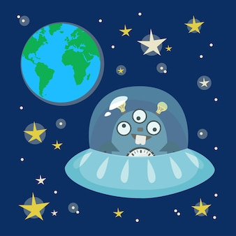 Ufo alien ufo flying saucer in the background of space planet earth and stars vector in cartoon