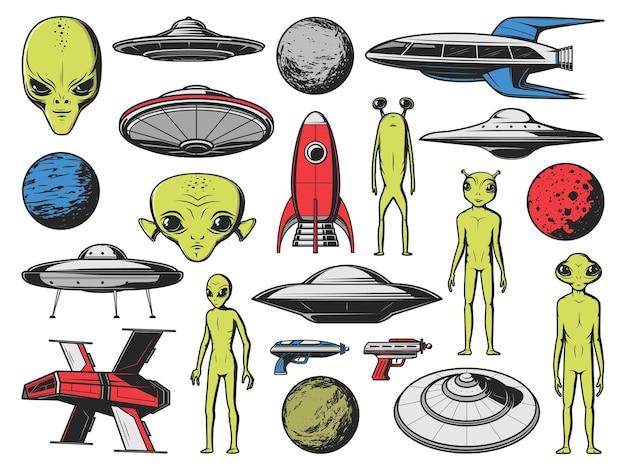 Ufo、エイリアンの宇宙船と惑星。ベクトルヒューマノイドエイリアン、緑色の肌と大きな目を持つ地球外生物、ファンタジー宇宙船、未来的なロケットと空飛ぶ円盤、ブラスター架空の銃