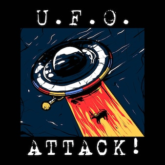 Ufo attack vector illustration in modern style. suitable for t-shirts, prints and other apparel products