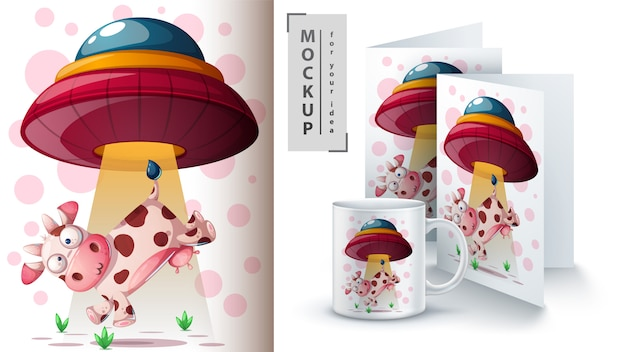 Ufo and cow greeting card