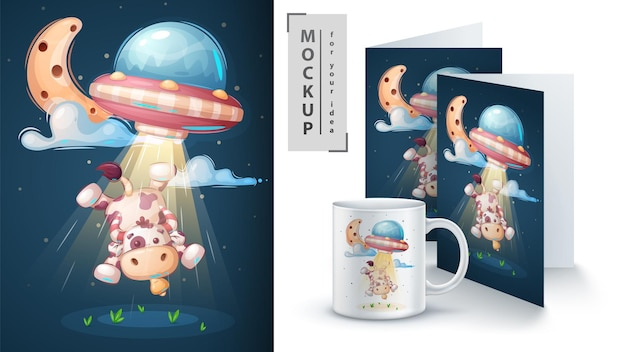 Ufo cow - poster and merchandising. vector eps 10