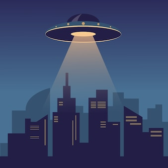 Ufo in the dark night sky above the modern city
