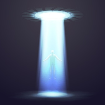 Ufo dramatic background with lighting and man. ufo abducts man, illustration spaceship ufo with ray
