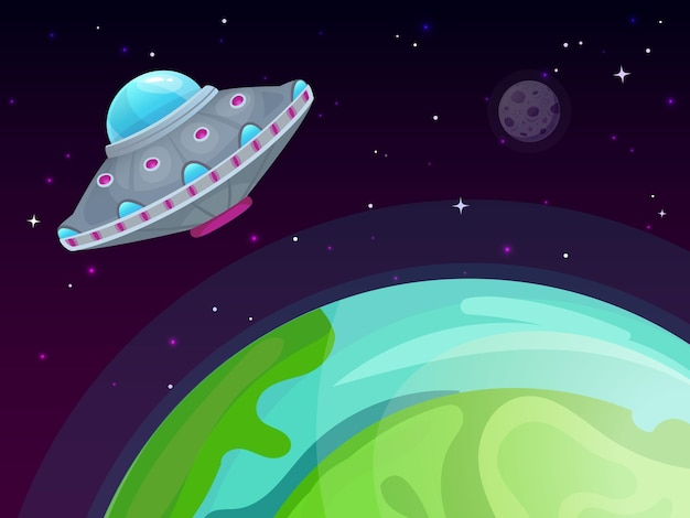 Ufo and earth illustration