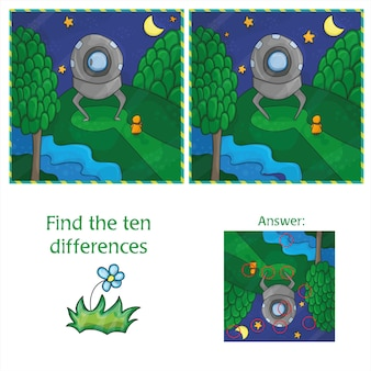 Ufo find 10 differences. educational game for children. cartoon vector illustration.