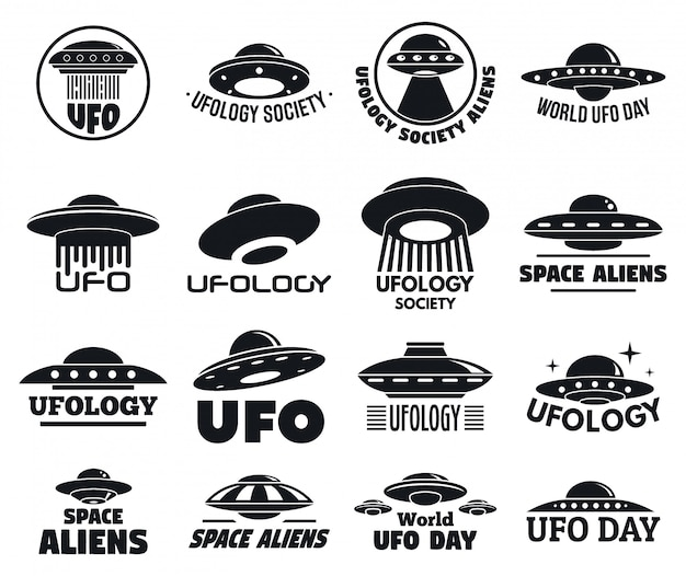 Ufo flying logo set