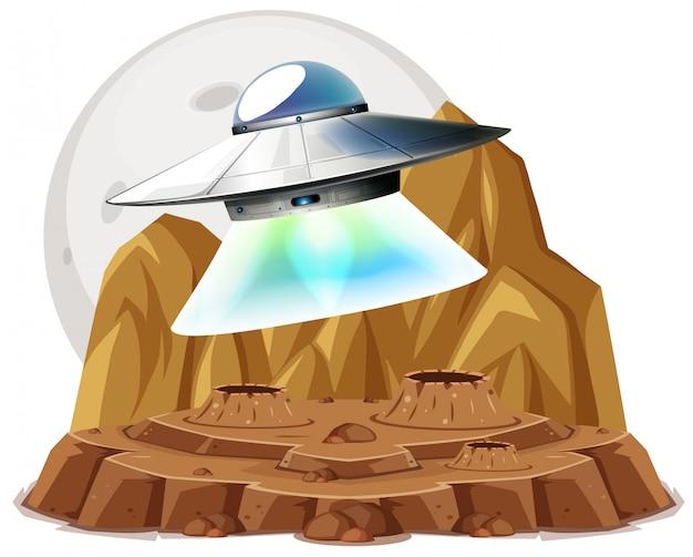흰색 배경에 행성 공간에 비행 ufo