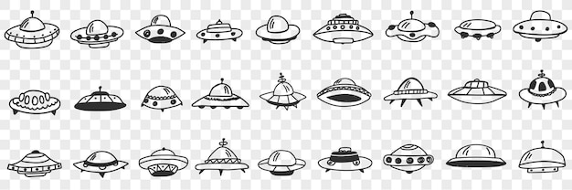 Ufo and flying plates in cosmos doodle set. collection of hand drawn various shapes and forms of ufo flying in outer space isolated on transparent background