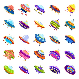 Ufo icons set, cartoon style