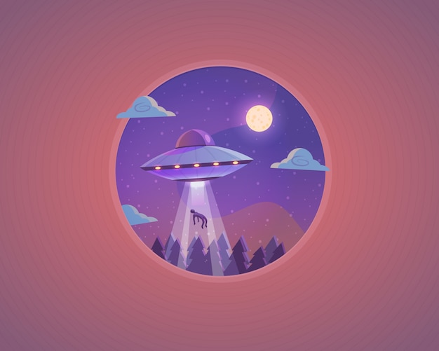 Ufo illustration. flying saucer cartoon concept .