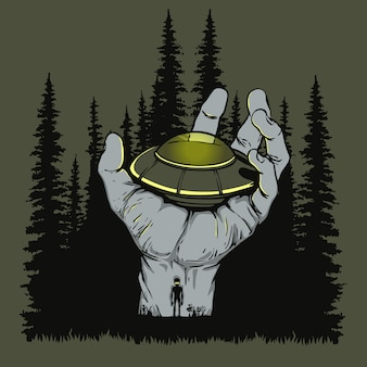 Ufo landed on hand illustration