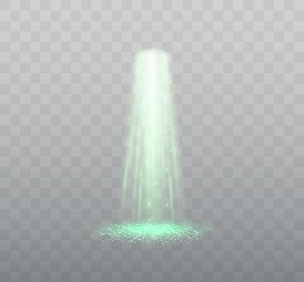 透明な背景の緑色の光のベクトル図に分離されたufo光線