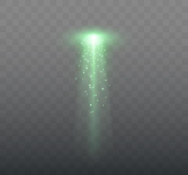 透明な緑色の光で分離されたufo光線