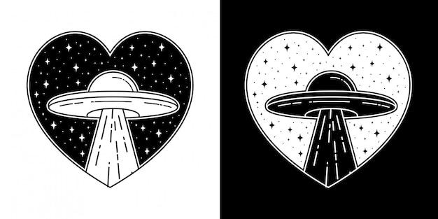 Ufo love badge tattoo monoline design