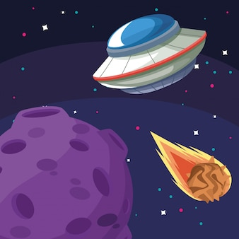 Ufo moon and falling asteroid space exploration