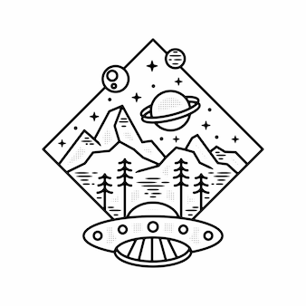 Ufo 행성 야외 미니멀리스트 빈티지 로고 배지 템플릿 monoline 그림 프리미엄 벡터