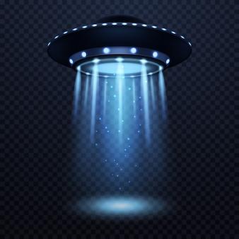 Ufo realistic alien spaceship with blue light beam futuristic