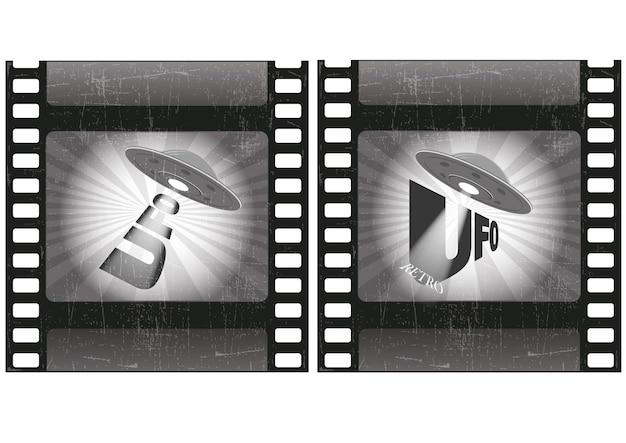 Ufo retro.old 필름 스트립입니다.