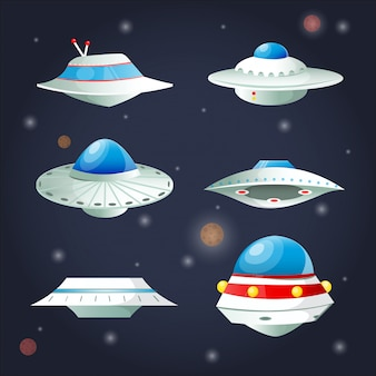 Ufo set. spaceship cartoon collection.