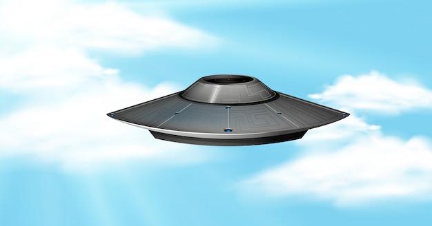 Ufo in sky scene
