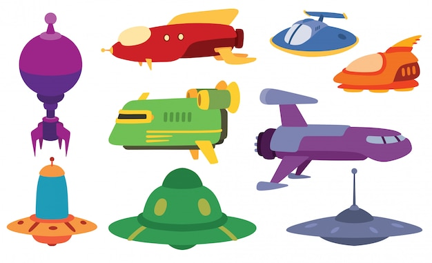 Ufo spaceship  set.