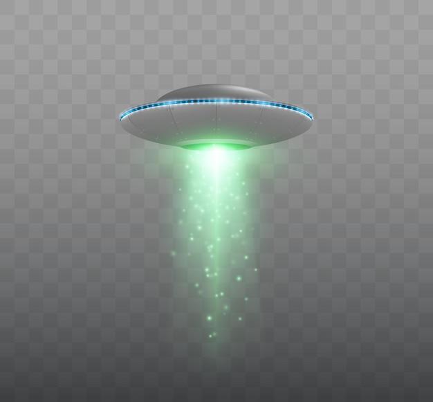 透明な背景のベクトル図に分離された光線とufo宇宙船