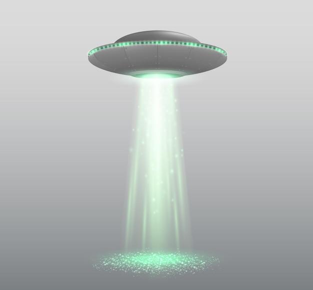 透明に分離された光線を備えたufo宇宙船