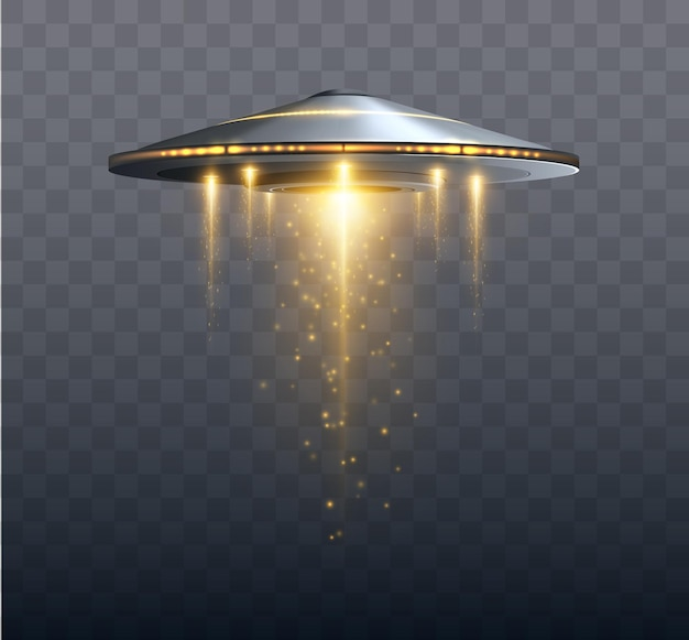Ufo spaceship with light beam isolated on transparent background vector illustration