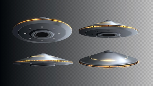 Ufo spaceship with lights isolated set of vector flying d alien space ships
