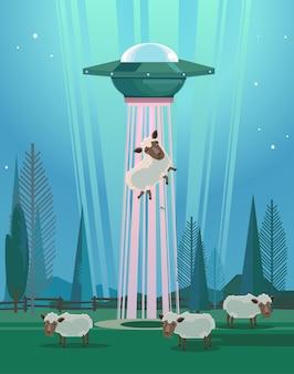 Ufo stealing sheep character