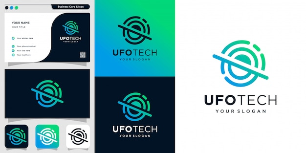 Ufo tech logo with line art style and business card design template, unique, modern, new, technology, alien,