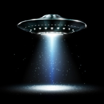 Ufo. unidentified flying object. futuristic ufo on the black background. photo-realistic  illustration.