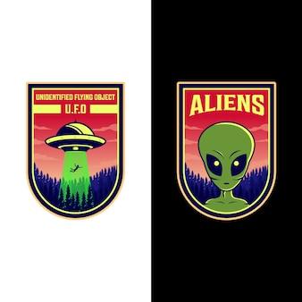 Ufoとエイリアンのロゴパッチイラストデザイン