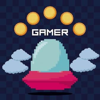 古典的なビデオゲームのufoとコイン