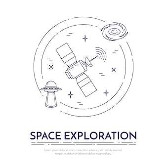 宇宙旅行ラインバナー。惑星、宇宙船、ufo、衛星、スパイグラス、その他のコスモスピクトグラムの要素のセットです。ウェブサイト、カード、インフォグラフィックのための概念を宣伝します。ベクトルイラスト