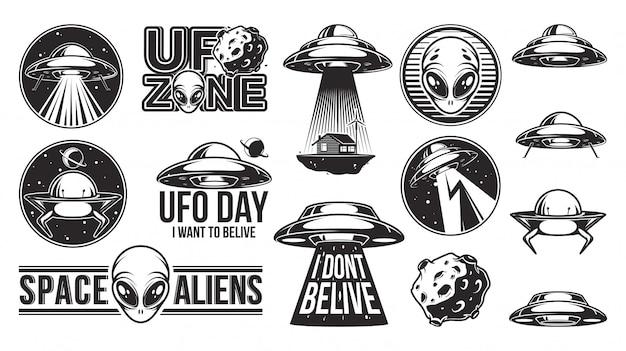 エイリアンのロゴの大きなセット。 ufoの日。