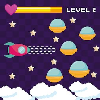 古典的なビデオゲームのufosの飛行