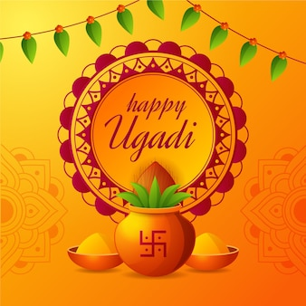 Ugadi celebration flat design