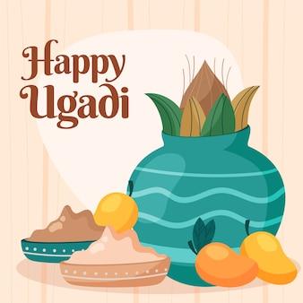 Ugadi event with flat design