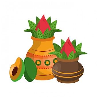 Ugadi festival offering pot cartoons