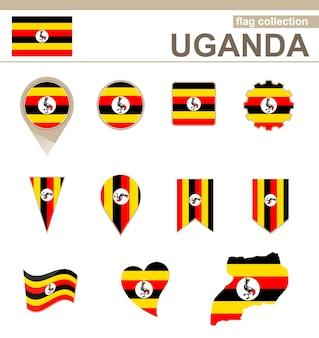 Uganda flag collection, 12 versions