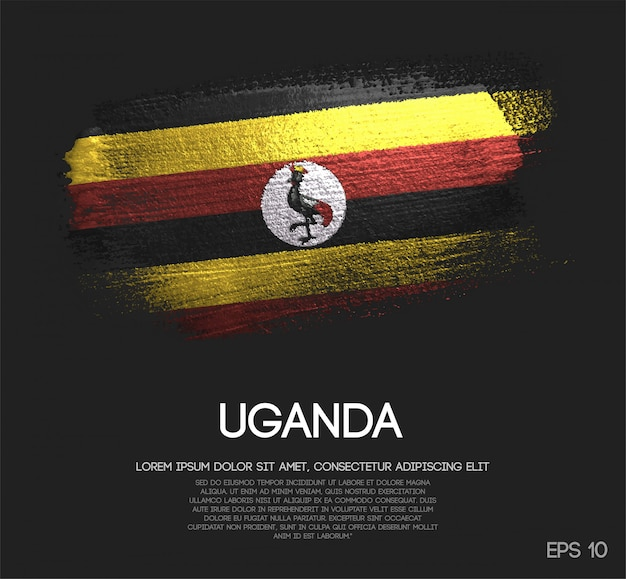 Uganda flag made of glitter sparkle brush paint