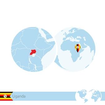 Uganda on world globe with flag and regional map of uganda. vector illustration.