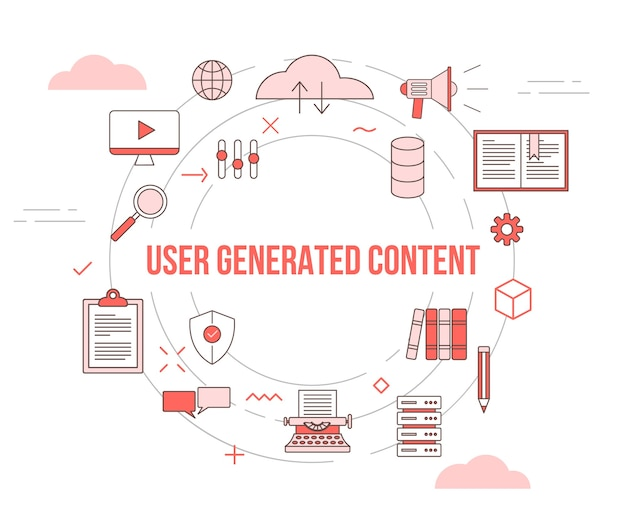 アイコンセットテンプレートバナーでugcユーザー生成コンテンツの概念